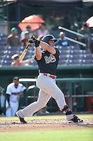 Stryker Trahan (18) of the Visalia Rawhide bats against the Inland Empire 66ers at San Manuel Stadium on June 26, 2016 in San Bernardino, California. Inland Empire defeated Visalia, 5-1. (Larry Goren/Four Seam Images)