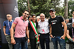 Alberto Contador (ESP), Virginia Raggi Mayor of Rome, Mauro Vegni Race Director and Ivan Basso (ITA) on hand before the start of Stage 21 of the 2018 Giro d'Italia, running 115km around the centre of Rome, Italy. 27th May 2018.<br /> Picture: LaPresse/Massimo Paolone | Cyclefile<br /> <br /> <br /> All photos usage must carry mandatory copyright credit (&copy; Cyclefile | LaPresse/Massimo Paolone)