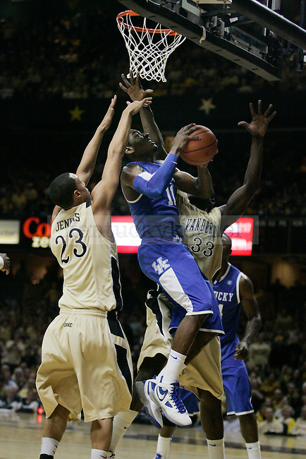 Freshman guard John Wall tries to take a lay up in the second half of UK's 58-56 win over  Vandy at Memorial Gymnasium in Nashville on Saturday, Feb. 20. 2010. Photo by Britney McIntosh | Staff