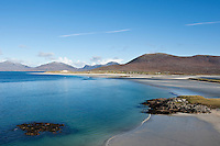 View of Seilebost and Luskentyre beaches, Isle of Harris, Outer Hebrides, Scotland