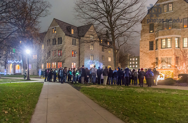 Dec. 3, 2015; Las Posadas walk from the Grotto to Farley Hall. (Photo by Barbara Johnston/University of Notre Dame)