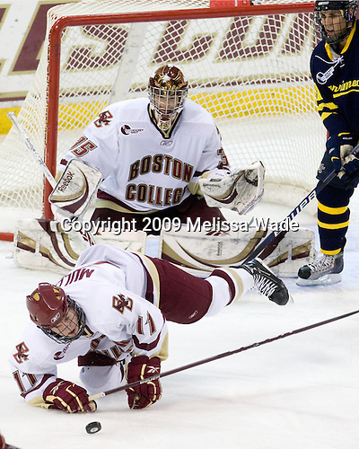 Pat Mullane (BC - 11), Parker Milner (BC - 35), Francois Ouimet,Merrimack College, Warriors,19861210, - The Boston College Eagles defeated the Merrimack College Warriors 4-3 on Friday, October 30, 2009, at Conte Forum in Chestnut Hill, Massachusetts.