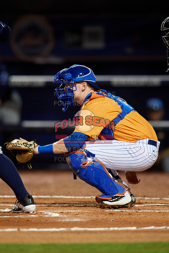 St. Lucie Mets catcher Dan Rizzie (40) waits to receive a pitch during the second game of a doubleheader against the Charlotte Stone Crabs on April 24, 2018 at First Data Field in Port St. Lucie, Florida.  St. Lucie defeated Charlotte 6-5.  (Mike Janes/Four Seam Images)