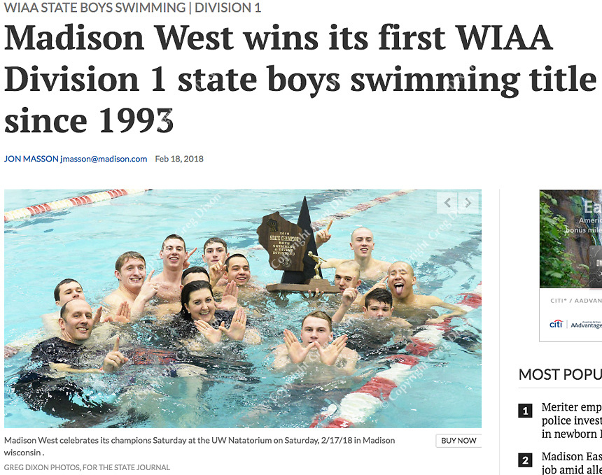 Madison West wins first place in the Wisconsin Division 1 state championship swimming and diving meet at the UW Natatorium on Saturday, 2/17/18 in Madison | Wisconsin State Journal article front page Sports 2/18/18 and online at http://host.madison.com/wsj/sports/high-school/swimming/madison-west-wins-its-first-wiaa-division-state-boys-swimming/article_c0f78cb5-6cf5-5974-9b83-4d11ed92381b.html