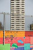 Mural and Bacton Tower on Camden Council's Gospel Oak Estate