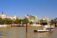 London: Northern Embankment from Westminister to Charing Cross from South Embankment. Photo 2005.