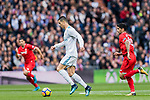 Cristiano Ronaldo of Real Madrid (C) in action during the La Liga 2017-18 match between Real Madrid and Sevilla FC at Santiago Bernabeu Stadium on 09 December 2017 in Madrid, Spain. Photo by Diego Souto / Power Sport Images
