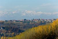 Italien, Piemont, Region Langhe, Landschaft vor der Bergkette Alpi Cozi ITA, Italy, Piedmont, Region Langhe, landscape, Alpi Cozi mountains