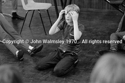 Drama class, Whitworth Comprehensive School, Whitworth, Lancashire.  1970.