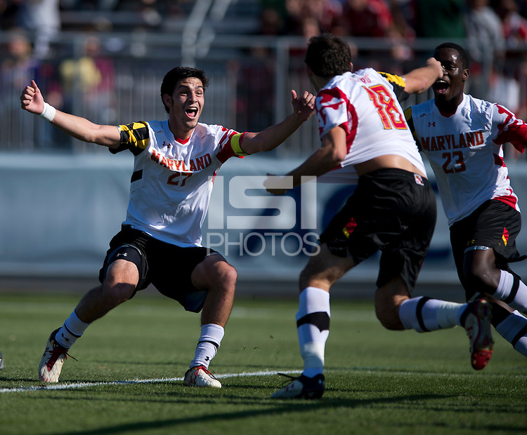 John Stertzer (27) of Maryland celebrates the goal of teammate Dakota Edwards (18) during the game at the Maryland SoccerPlex in Germantown, MD. Maryland defeated North Carolina, 2-1,  to win the ACC men's soccer tournament.