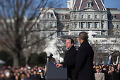 President Francois Hollande of France, left, speaks during an arrival ceremony with United States President Barack Obama on the South Lawn of the White House in Washington, D.C., U.S., on Tuesday, Feb. 11, 2014. <br /> Credit: Andrew Harrer / Pool via CNP