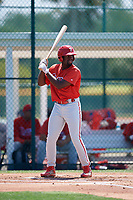 Philadelphia Phillies D.J. Stewart (10) during a Minor League Extended Spring Training game against the Pittsburgh Pirates on May 3, 2018 at Pirate City in Bradenton, Florida.  (Mike Janes/Four Seam Images)