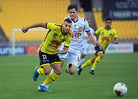 Phoenix's Jaushua Sotirio in action during the A-League football match between Wellington Phoenix and Perth Glory at Westpac Stadium in Wellington, New Zealand on Sunday, 27 October 2019. Photo: Dave Lintott / lintottphoto.co.nz