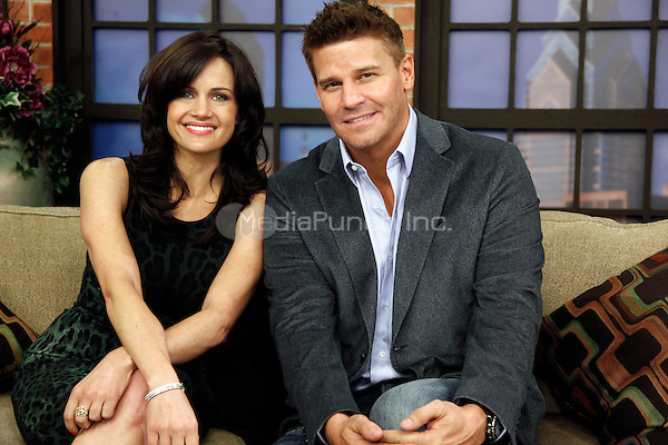 David Boarenaz and Carla Gugino pictured on set of Talk Philly at KYW in Philadelphia, Pa on October 17, 2011  © Star Shooter / MediaPunchInc