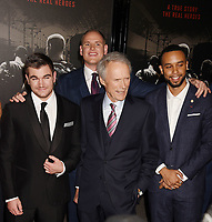 BURBANK, CA - FEBRUARY 05: (L-R) Actor Alek Skarlatos, Director/producer, Clint Eastwood, Actors, Spencer Stone and Anthony Sadler arrive at the premiere of Warner Bros. Pictures' 'The 15:17 To Paris' at Warner Bros. Studios, SJR Theater on February 5, 2018 in Burbank, California.<br /> CAP/ROT/TM<br /> &copy;TM/ROT/Capital Pictures