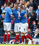 Lee McCulloch congratulated by Seb Faure and David Templeton