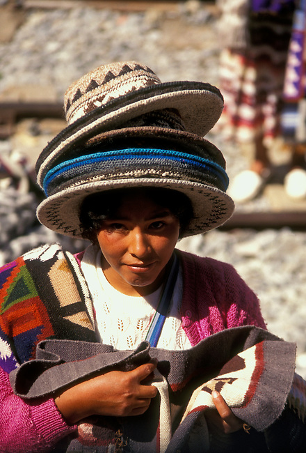 Vendor along railroad tracks, Ollantaytambo, Peru, South America.