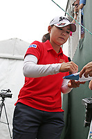 Sakura Yokomine (Japan) signs autographs after finishing her final round during the ShopRite LPGA Classic presented by Acer, Seaview Bay Club, Galloway, New Jersey, USA. 6/10/18.<br /> Picture: Golffile | Brian Spurlock<br /> <br /> <br /> All photo usage must carry mandatory copyright credit (&copy; Golffile | Brian Spurlock)
