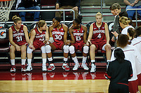 LOS ANGELES, CA - December 29, 2011:  Stanford's starting five before the Cardinal's game against the USC Trojans at the Galen Center.   Stanford defeated USC, 61 - 53.