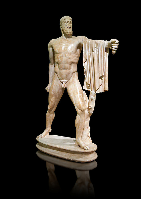 2nd century AD Roman marble sculpture of Harmodius  from the Tyrannicide group,  a Roman copy of an early classical period Geek original, inv 6009, Museum of Archaeology, Italy