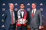 16 January 2014: Marco Franco, with technical director Brian Bliss (left) and head coach Frank Yallop (right), was selected with the thirteenth overall pick by the Chicago Fire. The 2014 Major League Soccer SuperDraft was held at the NSCAA Annual Convention in the Pennsylvania Convention Center in Philadelphia, Pennsylvania.