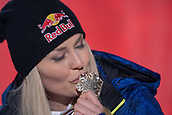10th February 2019, Are, Sweden; Alpine skiing: Combination, ladies: downhill; Lindsey Vonn from the USA kisses her bronze medal at the award ceremony.
