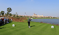 Emiliano Grillo (ARG) tees off the 9th tee during Sunday's Final Round of the 2014 BMW Masters held at Lake Malaren, Shanghai, China. 2nd November 2014.<br /> Picture: Eoin Clarke www.golffile.ie