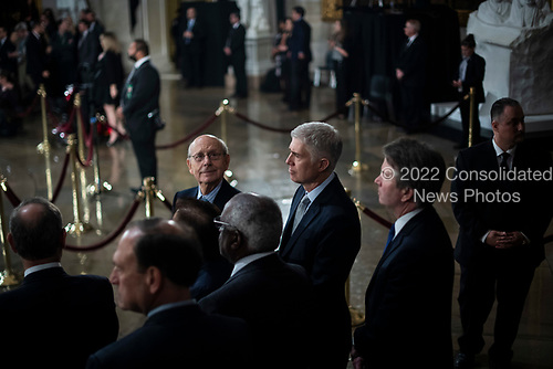 WASHINGTON, DC - DECEMBER 3 : Supreme Court Associate Justice Stephen Breyer, Associate Justice Neil M. Gorsuch, and Associate Justice Brett M. Kavanaugh wait for the arrival of Former president George H.W. Bush to lie in State at the U.S. Capitol Rotunda on Capitol Hill on Monday, Dec. 03, 2018 in Washington, DC. (Photo by Jabin Botsford/Pool)