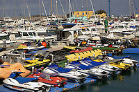 Jet ski yacht small craft marina, Corralejo harbour, Fuerteventura, Canary Islands, Spain. May 2007.