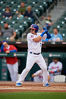 Buffalo Bisons Reese McGuire (7) bats during an International League game against the Norfolk Tides on June 21, 2019 at Sahlen Field in Buffalo, New York.  Buffalo defeated Norfolk 2-1, the first game of a doubleheader.  (Mike Janes/Four Seam Images)