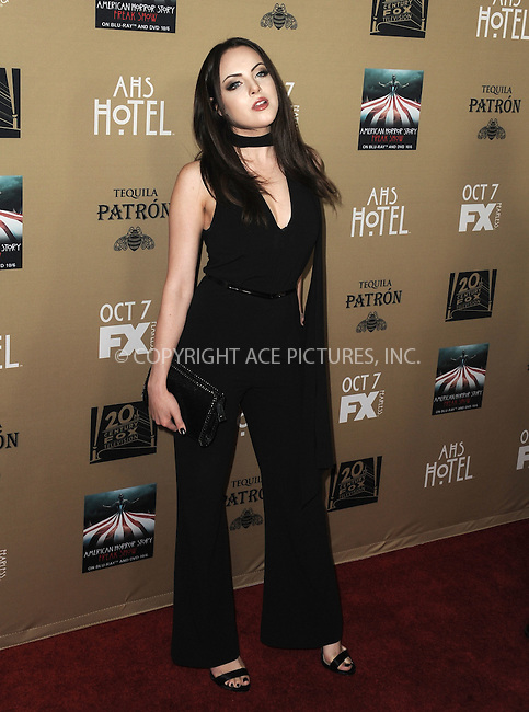 WWW.ACEPIXS.COM<br /> <br /> October 3 2015, LA<br /> <br /> Elizabeth Gillies arriving at the premiere of FX's 'American Horror Story: Hotel' at the Regal Cinemas L.A. Live on October 3, 2015 in Los Angeles, California.<br /> <br /> <br /> By Line: Peter West/ACE Pictures<br /> <br /> <br /> ACE Pictures, Inc.<br /> tel: 646 769 0430<br /> Email: info@acepixs.com<br /> www.acepixs.com