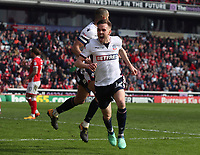 Bolton Wanderers' Craig Noone celebrates scoring his sides second goal<br /> <br /> Photographer Rachel Holborn/CameraSport<br /> <br /> The EFL Sky Bet Championship - Barnsley v Bolton Wanderers - Saturday 14th April 2018 - Oakwell - Barnsley<br /> <br /> World Copyright &copy; 2018 CameraSport. All rights reserved. 43 Linden Ave. Countesthorpe. Leicester. England. LE8 5PG - Tel: +44 (0) 116 277 4147 - admin@camerasport.com - www.camerasport.com