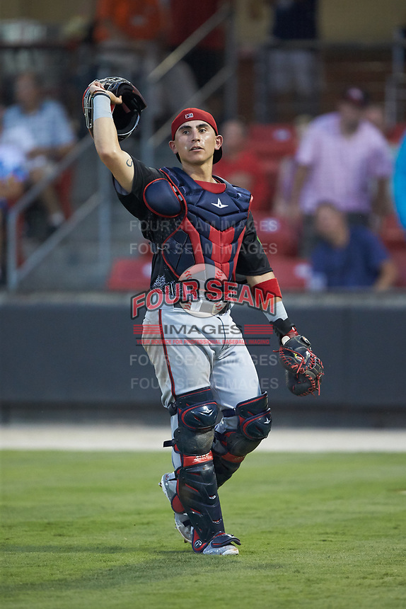North Division catcher Tres Barrera (36) of the Potomac Nationals tracks a foul pop up during the 2018 Carolina League All-Star Classic at Five County Stadium on June 19, 2018 in Zebulon, North Carolina. The South All-Stars defeated the North All-Stars 7-6.  (Brian Westerholt/Four Seam Images)
