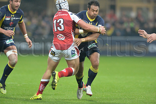 18.12.2016. Stade Marcel Michelin, Clermont-Ferrand, France. European Champions Cup Rugby. Clermont Auvergne versus Ulster.  Isaia Toeava (asm) tackled by Luke Marshall (ulster)