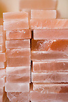 The Meadow, a salt, chocolate, wine and flower shop in the North Mississippi neighborhood of Portland, OR.  Stacks of Himalayan Pink Salt blocks used for cooking.