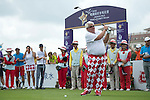 John Daly tees off the 1st hole at the World Celebrity Pro-Am 2016 Mission Hills China Golf Tournament on 21 October 2016, in Haikou, China. Photo by Weixiang Lim / Power Sport Images