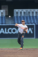 Alexis Torres (15) of the East team makes a throw during the 2015 Perfect Game All-American Classic at Petco Park on August 16, 2015 in San Diego, California. The East squad defeated the West, 3-1. (Larry Goren/Four Seam Images)