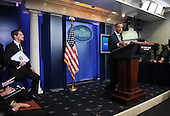 United States President Barack Obama discusses the 2011 budget impasse with Congress during a quick press conference in the Brady Press Briefing Room of the White House in Washington on Tuesday, April 5, 2011. If Republican and Democratic legislators can not agree on a budget in the next few days the federal government faces a shutdown. At left is Press Secretary Jay Carney. .Credit: Roger L. Wollenberg / Pool via CNP