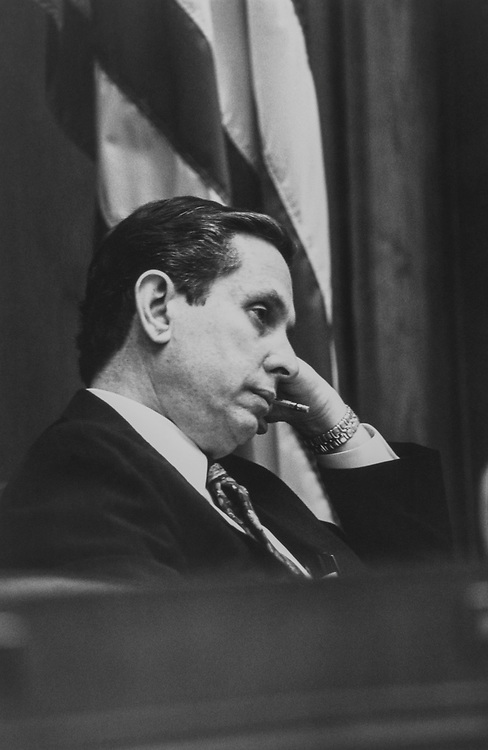 Rep. Stephen J. Solarz's, D-N.Y., at a Foreign Relations hearing on May 20, 1992. (Photo by Maureen Keating/CQ Roll Call)