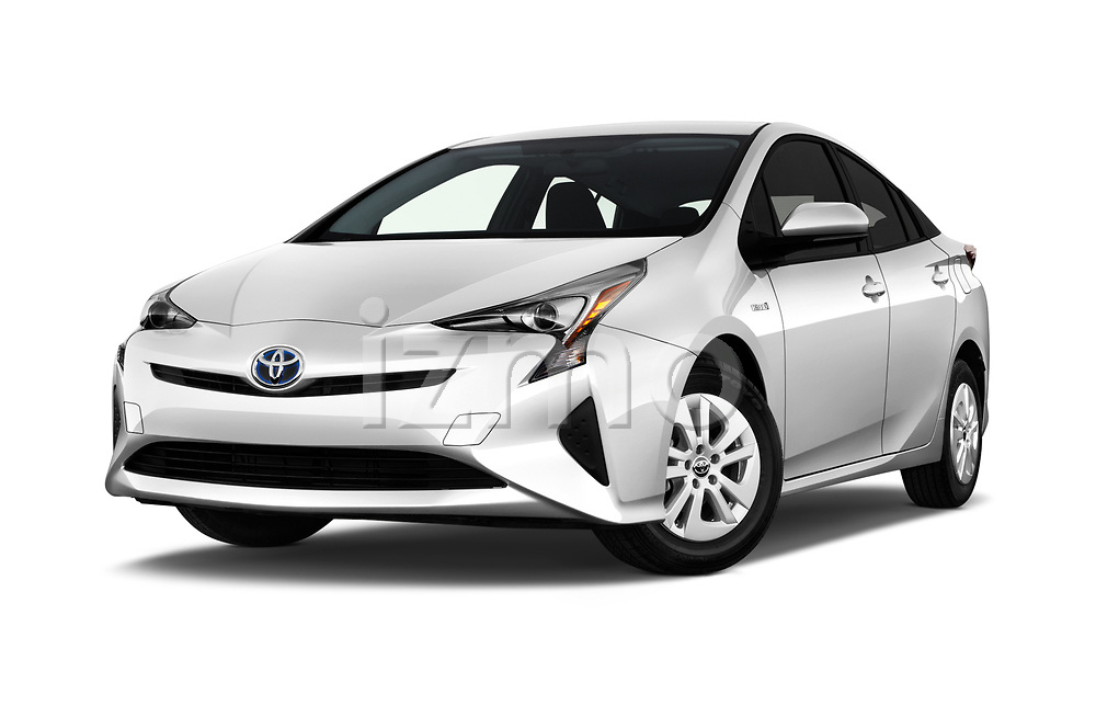 Stock pictures of low aggressive front three quarter view of 2017 Toyota Prius Two 5 Door Hatchback Low Aggressive