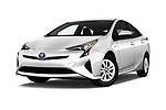 Stock pictures of low aggressive front three quarter view of 2018 Toyota Prius Two 5 Door Hatchback Low Aggressive