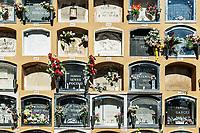 Crypts, Cementeri Les Corts, Barcelona, Catalonia, Spain.