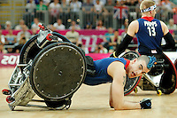 07.09.2012 Basketball Arena, London 2012 Wheelchair Rugby Paralympic Games at the Olympic Park. Picture shows action from Great Britain V. Japan Pool Match.David Anthony (GBR) takes tumble.