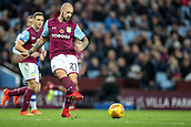 4th November 2017, Villa Park, Birmingham, England; EFL Championship football, Aston Villa versus Sheffield Wednesday; Alan Hutton of Aston Villa plays the ball sideways across the park