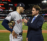 WASHINGTON DC - OCTOBER 27: Tom Verducci talks to Astros shortstop Carlos Correa following World Series Game 5: Houston Astros at Washington Nationals on Fox Sports at Nationals Park on October 27, 2019 in Washington, DC. (Photo by Frank Micelotta/Fox Sports/PictureGroup)