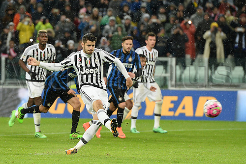 28.02.2016. Juventus Stadium, Turin, Italy. Serie A Football. Juventus versus Inter Milan. Penalty kick goal  scored by Alvaro Morata for 2-0