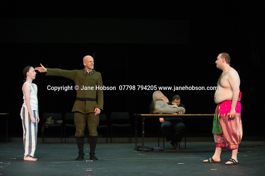 Edinburgh, UK. 09.08.2014.  GANESH VERSUS THE THIRD REICH, presented by Australian company, Back to Back Theatre, opens at the Royal Lyceum Theatre, as part of the Edinburgh International Festival. Picture shows: Simon Laherty, David Woods, Brian Tilley and Mark Deans.  Photograph © Jane Hobson.