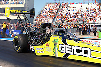 Sept. 22, 2013; Ennis, TX, USA: NHRA top fuel dragster driver Morgan Lucas during the Fall Nationals at the Texas Motorplex. Mandatory Credit: Mark J. Rebilas-