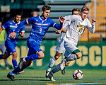26 October 2019: University of Massachusetts Lowell River Hawk Forward Stanley Alves, a Graduate from Minas Gerais, Brazil, moves in to score the first goal of the game against the University of Vermont Catamounts at Virtue Field in Burlington, Vermont. The Catamounts rallied to defeat the River Hawks 2-1, propelling the Cats to the America East Division 1 conference playoffs. Mandatory Credit: Ed Wolfstein Photo *** RAW (NEF) Image File Available ***