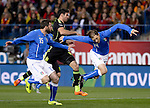 Diego Costa vies with Criscito during the FIFA friendly football match Spain vs Italy on March 5, 2014 on the eve of their World Cup 2014 at the Vicente Calderon stadium in Madrid.  PHOTOCALL3000 / DP